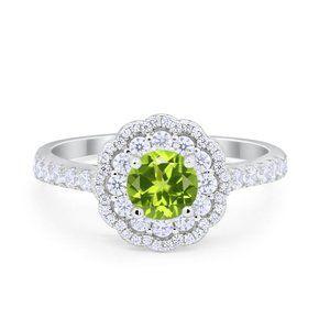 Art Deco Halo Wedding Engagement Ring Round CZ